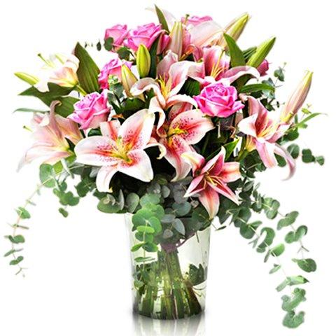Bukiet Różowa Dama: róże i lilie