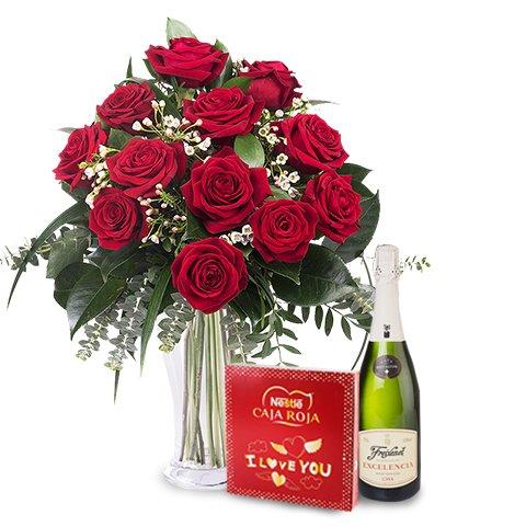 Deluxe: 12 rose, praline, spumante