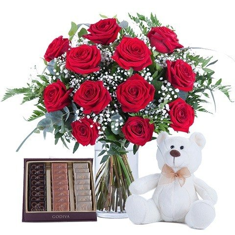 Affection: roses, chocolates and teddies