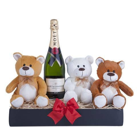 Cesta regalo: tres peluches y champagne