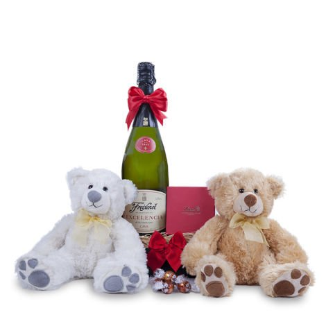 Chocolates, two teddy bears and cava
