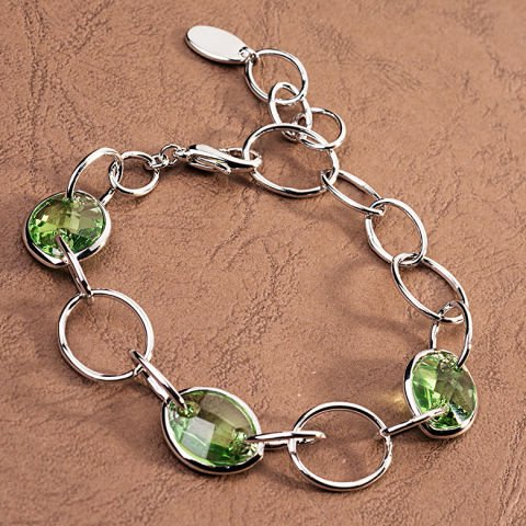 Bracciale con cristalli Swarovski verdi