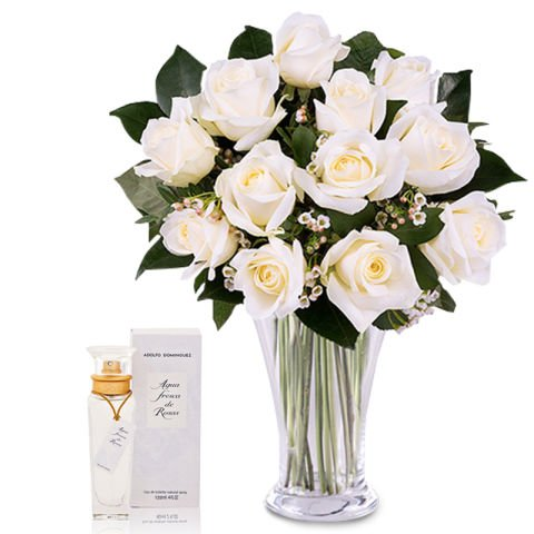 Fragrance florale : 12 roses blanches et un parfum