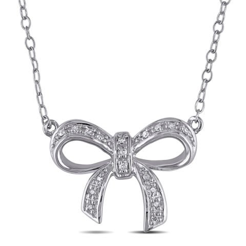 """""""Silver bow"""" pendant with diamonds"""