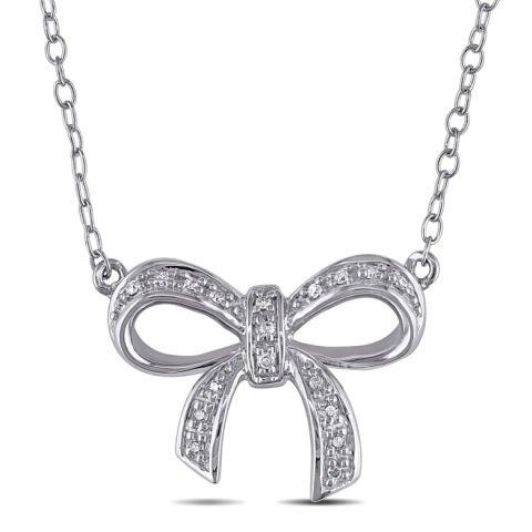 Anhänger 'Silberschleife' mit Diamanten