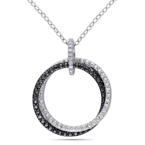 """""""Two Circles"""" silver and black rhodium pendant"""