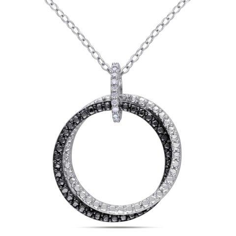Anhänger 'Doppelkreis' aus Silber und schwarzem Rhodium