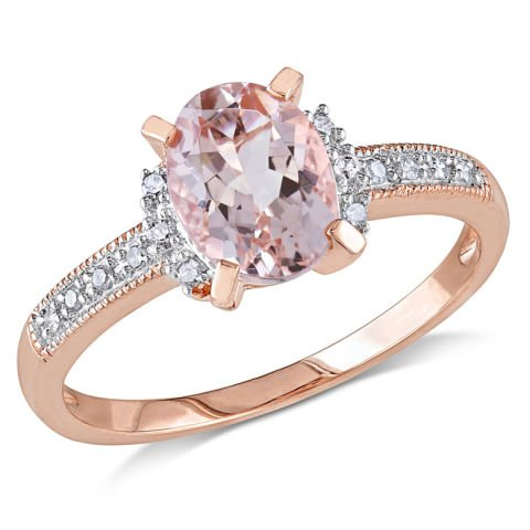 Silver ring with morganite and diamonds
