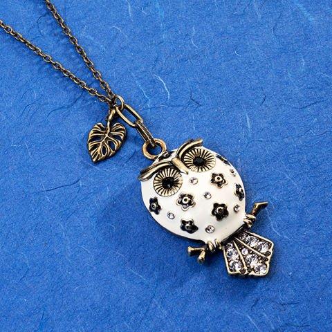 """Owl"" pendant with Swarovski crystals"