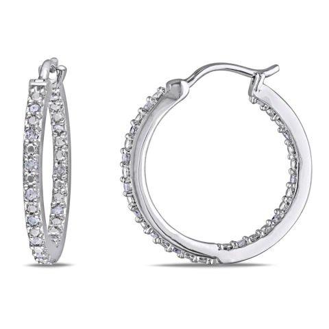 Silver and diamond earrings