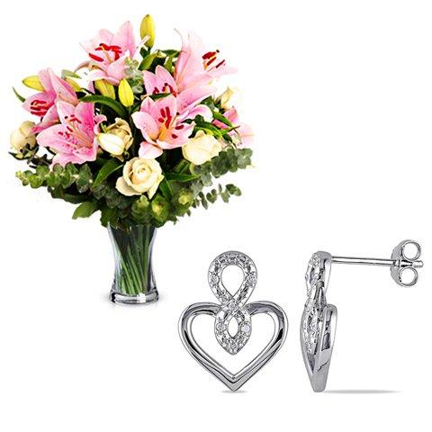 Cariño Infinito: lirios, rosas y pendientes