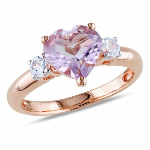 Silver ring plated with pink rhodium, with morganite and tourmalines