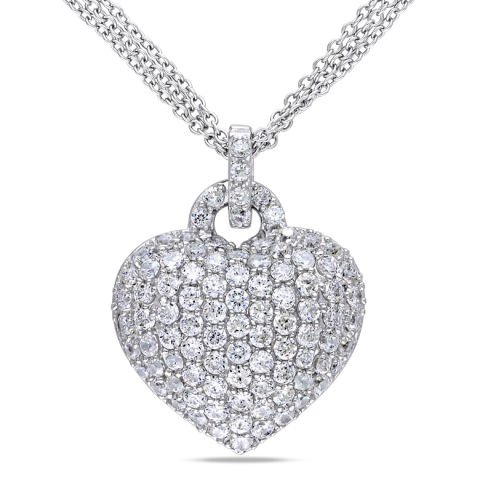 Heart shaped silver pendant with sapphires