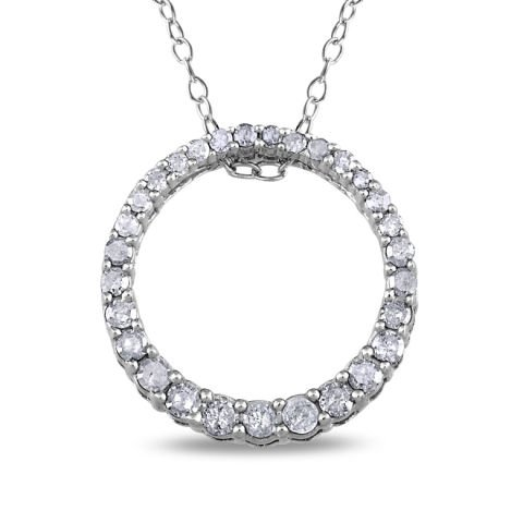 "Silver ""circle of life"" pendant with diamonds"