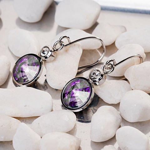 Ohrringe mit lila Swarovski-Kristallen