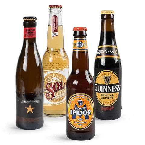 Cesta di birre internazionali