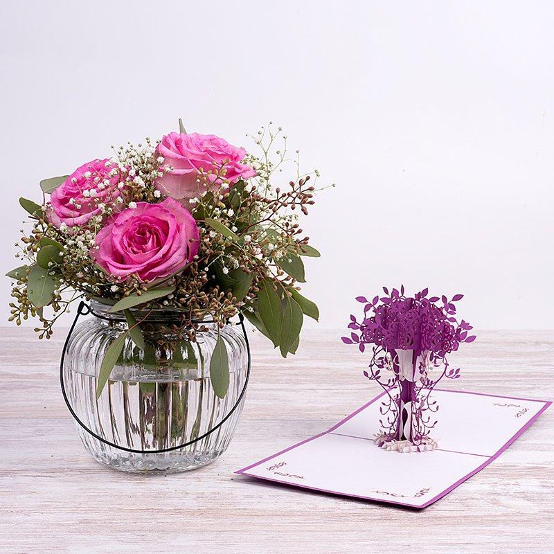 Mini Bouquet Romance - Rosas Rosas + jarrón + tarjeta 3D