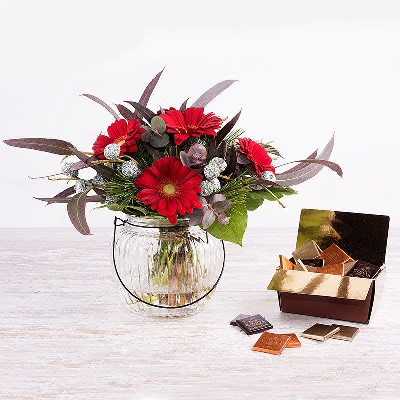 Dulces Reyes Magos – Mini bouquet + jarrón + chocolate Godiva
