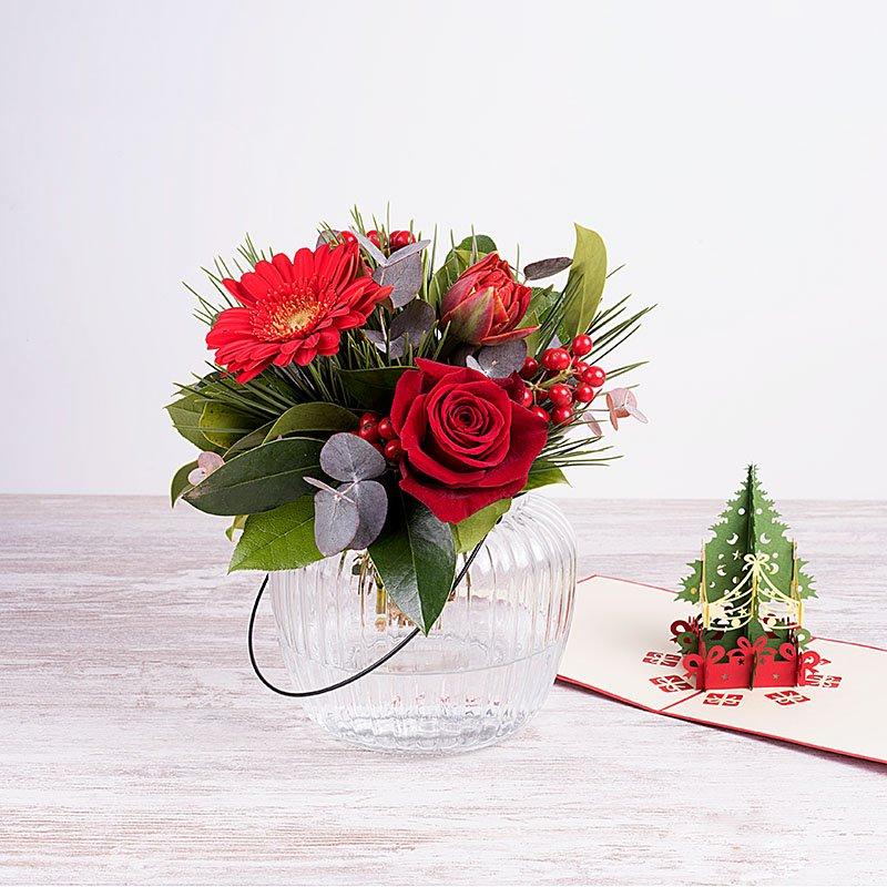 Mis mejores deseos – Mini bouquet con ilex y flores rojas y tarjeta 3D